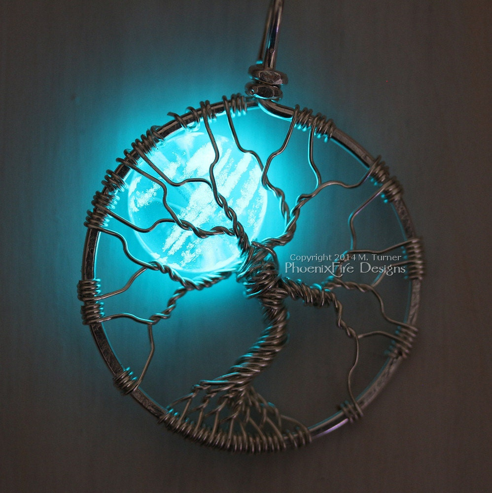 Glow in the Dark Jewelry Full Moon Tree of Life Pendant
