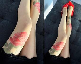 Tongue deep printed pantyhose charming rose naked big botty