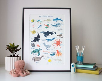 An A-Z of Sea Creatures (unframed print)