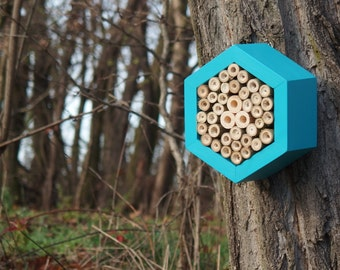 BEE HOTEL, Insect house, Mason bee home - Hotel Turquoise