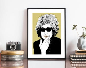 Bob Dylan illustration and digital print