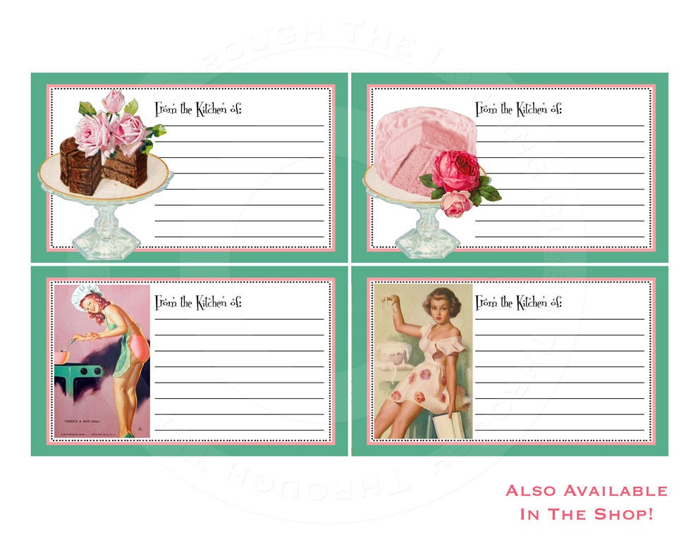 Printable pinup recipe cards for matching invitations tupperware ...