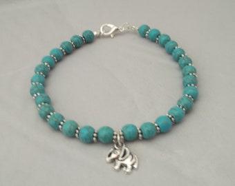 Lucky Elephant Bracelet with gift box, Turquoise Bracelet, Gemstone bracelet, Elephant charm bracelet, boho bracelet, gift for her