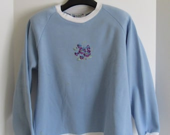 Handmade, Hand Sewn  Woman's Small Light Blue Sweatshirt with Foral Embroidered Desogn