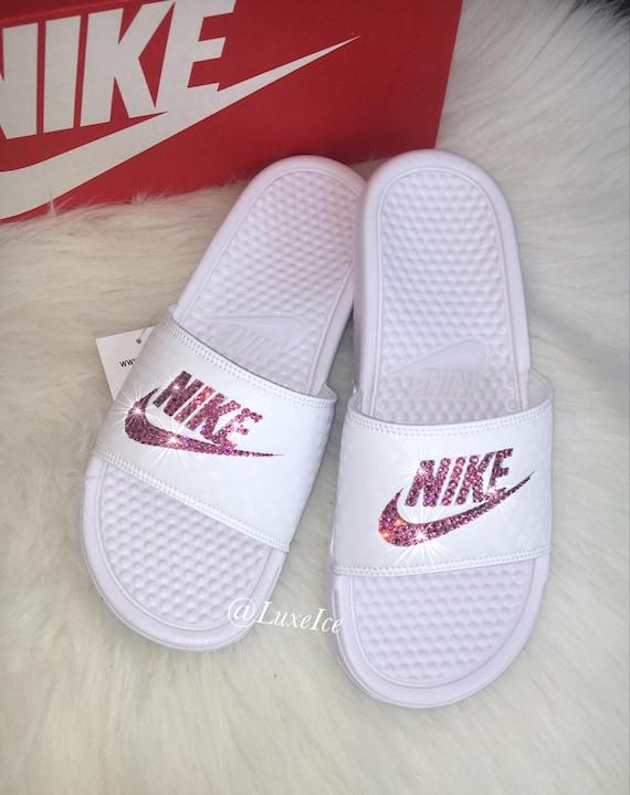 Swarovski customized with Flip Crystals Pink Nike Benassi Slides Flops Rose JDI pwZFzqS