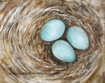 for her watercolor painting of Nest PRINT bird Painting of nest wall art Bird Nest Painting room decor robin egg blue gift for mom gift