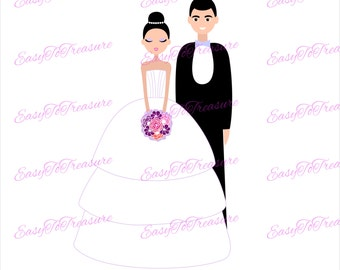 Digital Download Clipart –  Wedding Couple JPEG and PNG files