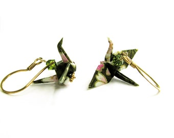 Peace Crane Earrings Sage Green Cranes on Gold Vermeil Earwires