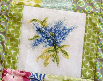 Blue Lilac Flower Bouquet Cross Stitch Pattern Needlework