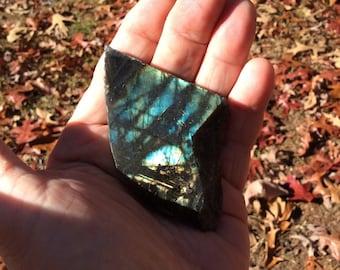 "Labradorite Semi-Polished Slice - 57g - 3"" - Blue and Gold Flash"