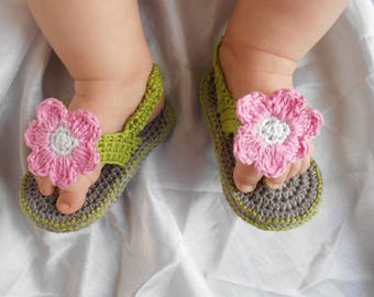 baby girl Sandals handmade 100% cotton gray green pink and white flower