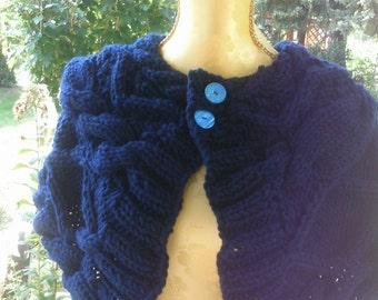 Shoulder warmer dark.-blue, size 36-38 (S M), with braids