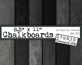 "Chalkboard Digital Paper 8.5x11"" - Real Chalkboard Background - 12 High Res Authentic Blackboard Images - Instant Download Chalkboard"