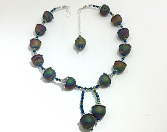 2018_NE_001: Druzy agate and filigree beadcaps and blue and green rondelles set