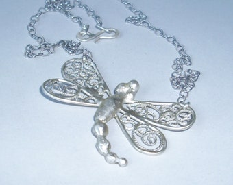Large Filigree Dragonfly Necklace