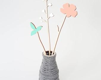 ALIZI.SPRING - wooden flowers - N.1 / meadow flowers / plywood flowers / cute flowers / wood decoration / modern decoration