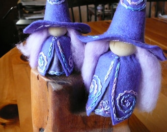 Mother Daughter Purple Witches, Witch Peg Dolls, Waldorf Miniature, Art Doll