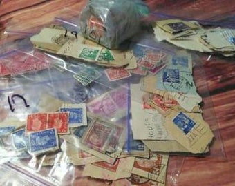 353 Vintage Postage Stamps U.S. & Other Countries Plus A Vintage Glass Ink Jar