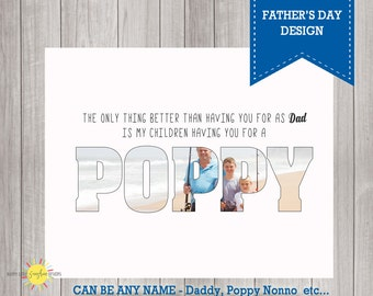 Custom Name Photo Wall Art Printable Quote,  Gift for Dad, Father's Day Gift, Photo Gift, Poppy, Daddy etc