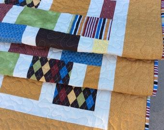 Modern Quilt, Lap Quilt, Masculine Quilt, Quilt for a Man, Orange Quilt, Handmade Blanket, Quilts for Sale