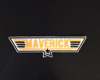 Top Gun Maverick Embroidered Patch Badge Iron on or sew Gold