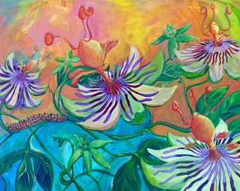 Fritillary Caterpillar with Passiflora -Original Painting Mixed Media Caterpillar Passion Flower Lauren deSerres Wildlife Pollinator