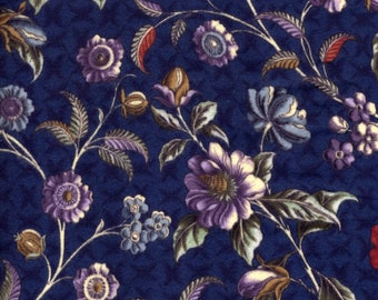 Savannah Flannel by Fons And Porter, Benartex Flannel, Navy Blue Floral Flannel