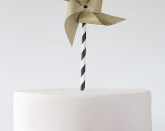 Glitter Pinwheel cake topper, Gold Glitter Pinwheel Cake Topper, Silver Glitter Pinwheel Cake Topper, Smash Cake, Birthday Cake Topper