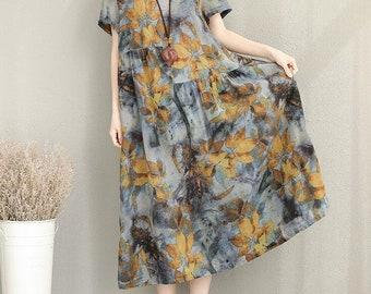 Summer maxi dress Loose Short sleeve long dress/ Dress summer Floral dress women