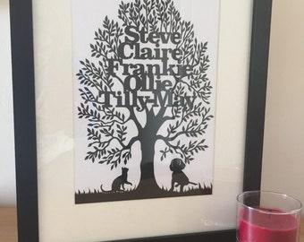 Papercut family tree/ Wall family tree/ Family tree Artwork/ Family tree/ Personalised/ Family gift/ Papercut Oak tree/Anniversary gift