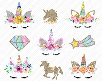 watercolor Unicorn Clipart. Unicorn Printable. Golden Unicorns Gold Glitter Unicorn . rainbow clipart, unicorn face. Glitter clipart.