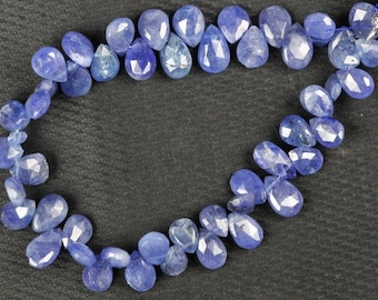 7 inch long strand faceted Pear Tanzanite briolette beads 8 -- 10 mm approx