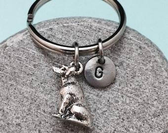 Lab keychain, lab charm, animal keychain, personalized keychain, initial keychain, initial charm, customized keychain, monogram, dog keyring