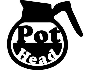 Coffee Pot Head Vinyl Decal