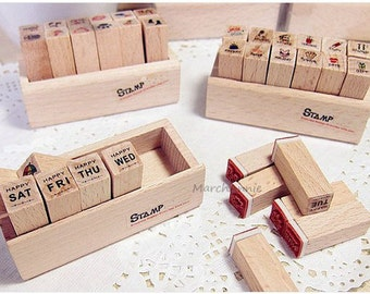 12pcs/case Diary Stamp - Wooden Rubber Stamp Set
