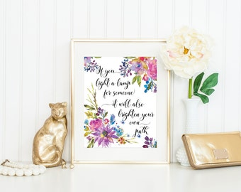 Mentor Gift / Gift for Mentor / Mentor Print / If You Light a Lamp Buddhist Quote / Mentor Thank You / Floral Print / Up to 11x14 Print