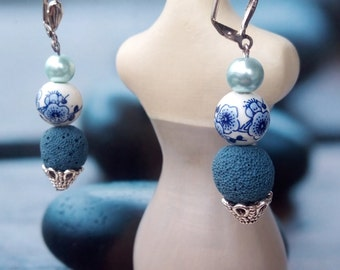 Pearl Earrings volcano lava and blue porcelain flowers
