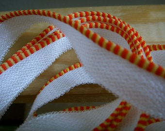 faux bookbinding endband - red and yellow