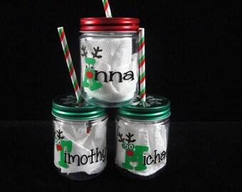 Christmas Plastic Mason Jars with Straws, Personalized Mason Jars, Xmas Mason Jars, Reindeer Cups, Daisy Lids, Kids Party Cups- 12 oz jars