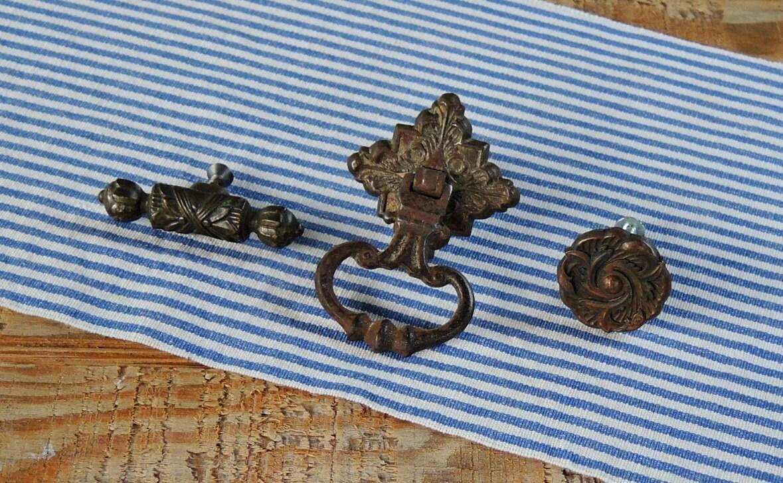 Eastlake Victorian Ornate Cast Iron Drawer Pulls Set of 3 Handle ...