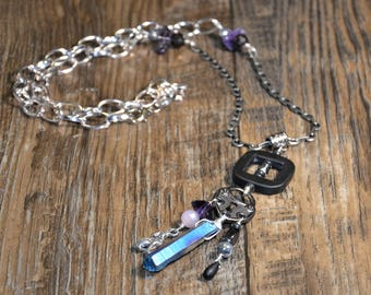 Lock your heart pendant necklace, steampunk wolf onyx hematite labradorite amethyst healing crystals silver chain wire wrapped