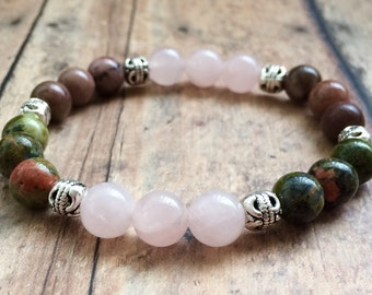 Fertility Bracelet. Pregnancy Bracelet. Rose Quartz Unakite Bracelet. Fertility Hope Bracelet. TTC Beaded Bracelet.