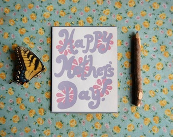Groovy Mother's Day Card - Screen Printed Mother's Day Card - Pink and Purple Retro Flower Power