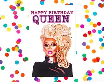 Birthday Card, Rupaul Card Drag Queen Card, Blank Card (100% Recycled Paper) (Gay Card, Queer Card, Rupaul's Drag Race)