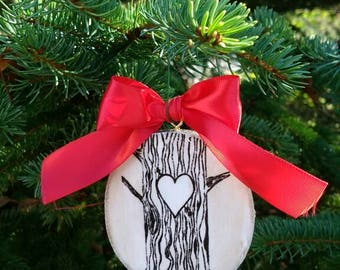 Custom ornament birch tree initials country Christmas personalized rustic wedding favor gift