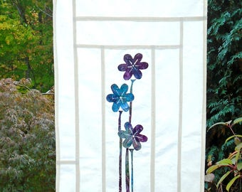 Three Flowers ~ Batik Stained Glass Look Fabric Pojagi Window Treatment / dorm / cafe curtain / watercolor curtain