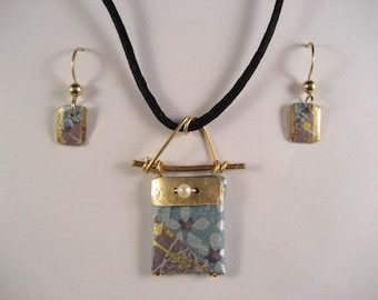 Japanese washi paper origami purse pendant and earring set by cra1nes on etsy