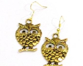 Golden Owl Antique Finish Bohemian Dangle Drop Boho jewelry Gypsy Earrings Gift