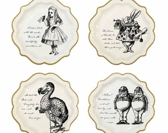 Alice In Wonderland Classic Character 9 inch plates set of 8