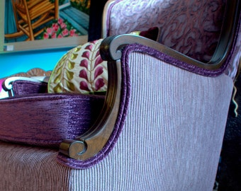 1930's, Upcycled Furniture,, Upholstered Vintage Chair, Repurposed, in Lavender, Designers Guild Fabrics, By Jane Hall Design